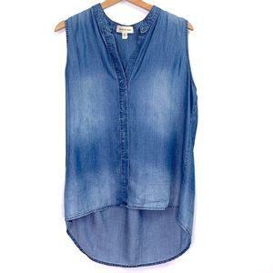 Cloth & Stone Jean Sleeveless Button High Low Top